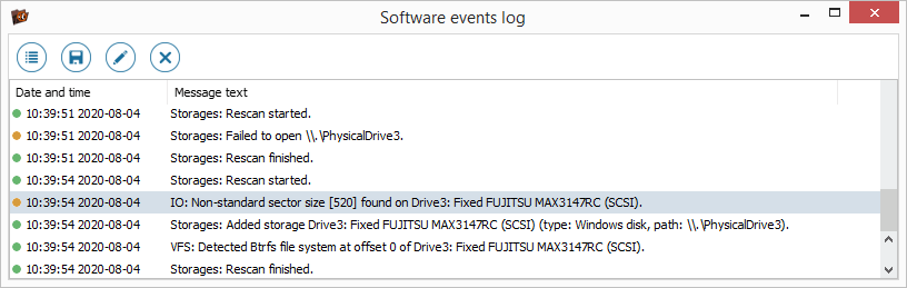 software events log