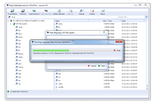 Raise Data Recovery for UFS and UFS2 Screenshot