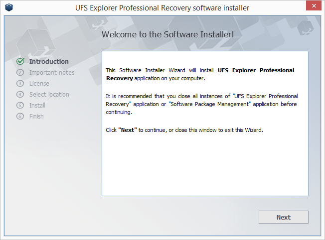 UFS Explorer Professional Recovery install step 1
