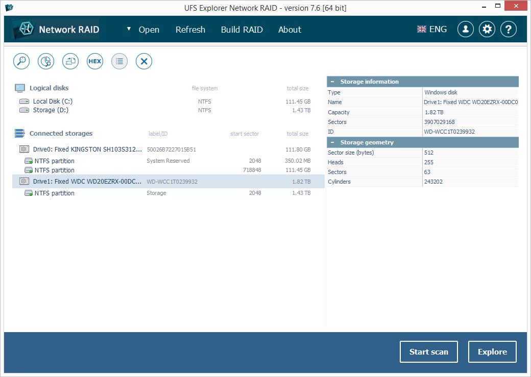 UFS Explorer Network RAID screenshot