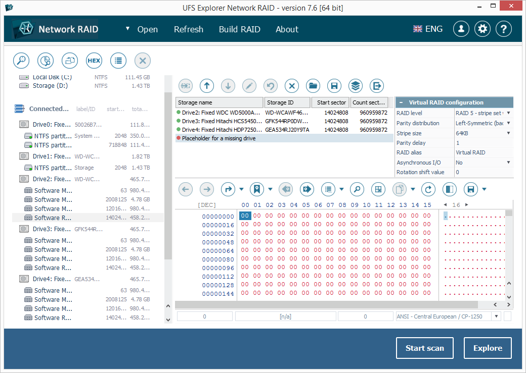 Скріншот UFS Explorer Network RAID
