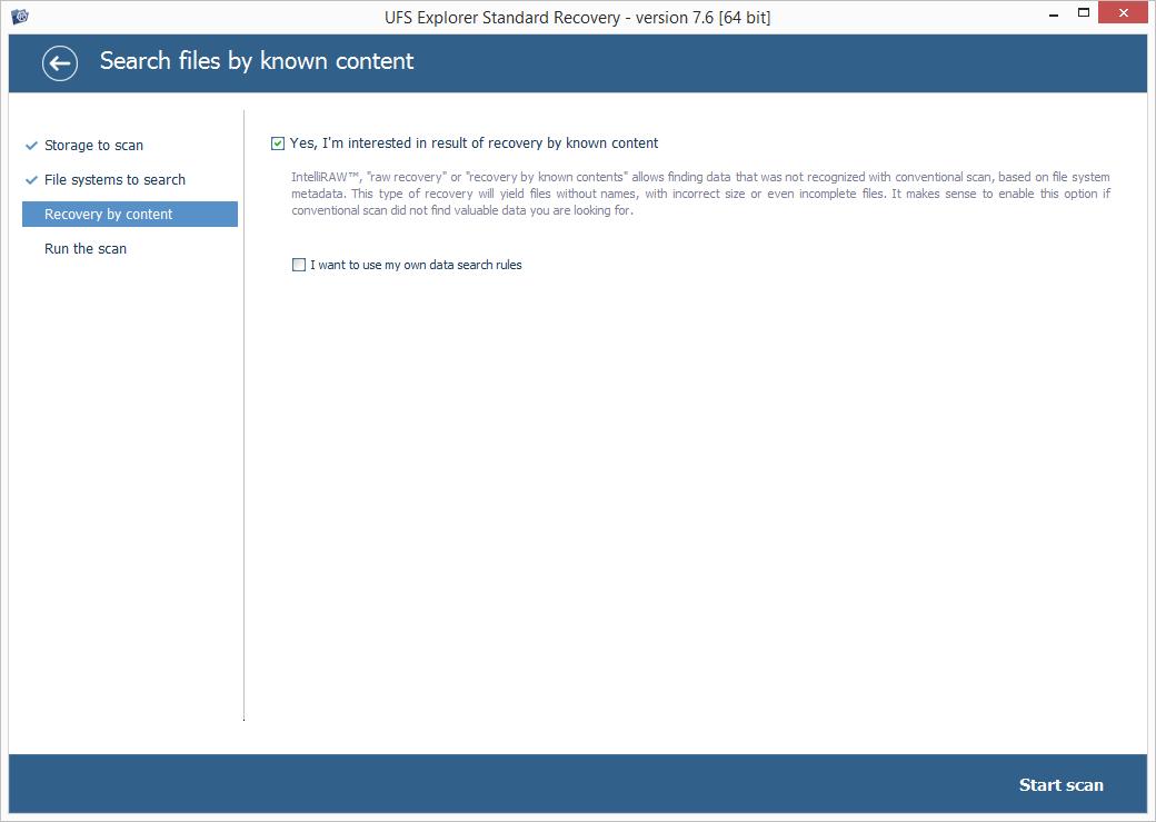 Знімок екрана UFS Explorer Standard Recovery